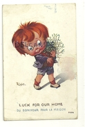 """Petit Garçon Et Bouquet De Gui. Signée Right """"Du Bonheur Pour La Maison"""" """"Luck For Our Home"""" - Right"""