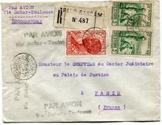 """COTE D'IVOIRE LETTRE RECOMMANDEE PAR AVION AVEC GRIFFE """"PAR AVION VIA DAKAR - TOULOUSE"""" DEPART GRAND-BASSAM 10 SEPT 38.. - Côte-d'Ivoire (1892-1944)"""