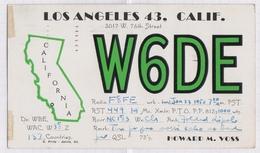 6AI4928 CARTE QSL Radio Amateur LOS ANGELES CALIFORNIA  1950 2 SCANS - Radio Amateur