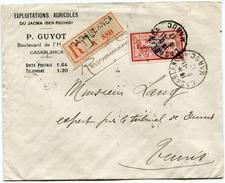 MAROC LETTRE RECOMMANDEE DEPART CASABLANCA 8-11-17 MAROC POUR LA TUNISIE - Morocco (1891-1956)