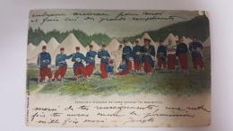 INFANTERIE FRANCAISE AU CAMP PENDANT LES MANOEUVRES CPA Animee Postcard - Geschiedenis