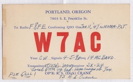 6AI4936 CARTE QSL Radio Amateur PORTLAND  OREGON   1947 2 SCANS - Radio Amateur