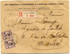 MAROC LETTRE RECOMMANDEE DEPART OUDJDA 21-12-13 MAROC POUR LA TUNISIE - Morocco (1891-1956)
