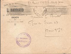 Cachet Dijon - Service Des Postes - Convois Automobiles - Café De La Renaissance  Dijon - Marcophilie (Lettres)