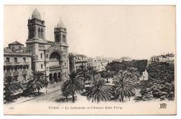 Tunisie - Cpa - TUNIS - La Cathédrale Et L'avenue Jules Ferry - Túnez