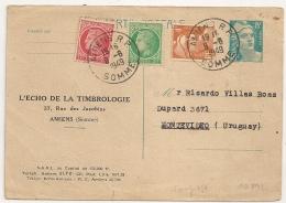 DESTINATION URUGUAY CARTE POSTALE GANDON 8F + 7F. AMIENS R.P. SOMME Pour MONTEVIDEO. - Postmark Collection (Covers)