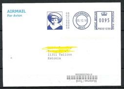 ENGLAND Great Britain 2016 Air Mail Letter To Estonia Interesting Meter Cancel Tonbridge Kent - 1952-.... (Elizabeth II)