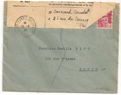 DEPOT CENTRAL DES REBUTS PARIS Sur Enveloppe 3f GANDON. INCONNU. LETTRE TOMBEE EN REBUT. Enveloppe Fermée. - Postmark Collection (Covers)