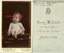 CDV Geneviève NOGUEIRA 1 Sur 2-, Bébé De 5 Mois-photographe H. Billard Ex Braun 7 Place Du Murier à Angoulême - Photos