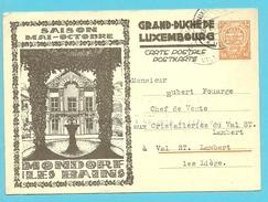 Carte Illustrée  MONDORF LES BAINS Stempel LUXEMBOURG - Stamped Stationery