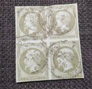 NAPOLEON III Empire Français 1c Vert  Olive Bloc De 4 Oblitéré - 1853-1860 Napoléon III