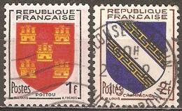 France - 1953 - Poitou Et Champagne - YT 952 Et 953 Oblitérés - 1941-66 Coat Of Arms And Heraldry