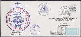 Yugoslavia 1972 Yugoslav Airlines (JAT) Season Air Route Nis  Tivat Commemorative Airmail Cover, Jubilee Purple Postmark - Luftpost