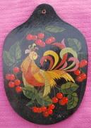 Ancienne Planche à Découper Décorative, Décor  Russe, Peinture Laquée - Art Populaire