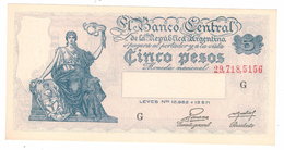 Argentina 5 Pesos , UNC, Free Ship. To USA. - Argentina
