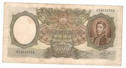 Argentina 5000 Pesos ,used, Free Ship. To USA. - Argentina