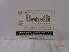 DEPLIANT PUBBLICITARIO 1953 MOTO BENELLI PESARO - Sport