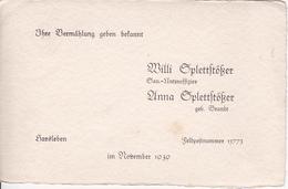 Vermählungs-Anzeige - Willi Und Anna Splettstößer - Harsleben / Feldpostnummer 15773 - November 1939 (26062) - Hochzeit