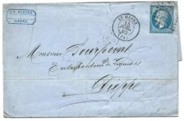S N° 14 BLEU NAPOLEON SUR LETTRE / LE HAVRE POUR DIEPPE / 15 JUIL 1862 - 1849-1876: Classic Period