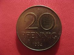 Allemagne République Démocratique - 20 Pfennig 1984 A 2736 - [ 6] 1949-1990 : GDR - German Dem. Rep.