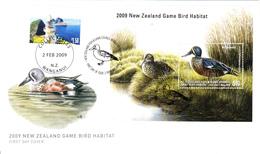New Zealand 2009 FDC Souvenir Sheet $10 NZ Shoveler Fish And Game Council Game Bird Habitat - FDC