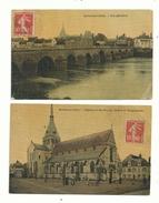 2 CP Anciennes (couleur  1908 ) De SELLES Sur CHER (loir & Cher)..l'église Et La Poste.(animée)et Vue Générale...à Voir. - France