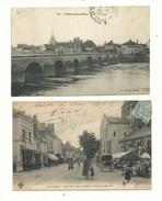 2 CP Anciennes  De SELLES Sur CHER (loir & Cher) Vue Générale Et La Place Du Marché (précurseur Animée).......à Voir. - France