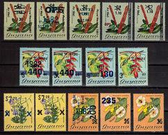 J0069 GUYANA, Small Lot Of 33 Overprints And Surcharges,  MNH - Guyana (1966-...)