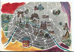 Carte Géographique Plan De Paris - Blason Devise Fluctuat Nec Mergitur - Cpsm Voyagée - Adiacolor 579 - France