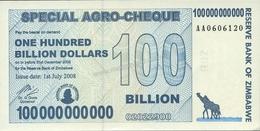 Zimbabwe 100 Billions Dollars Agro Cheque 2008 UNC - Zimbabwe