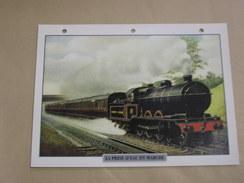 LA PRISE D' EAU EN MARCHE Vapeur Steam   Locomotive Fiche Descriptive Ferroviaire Chemin De Fer Train - Picture Cards