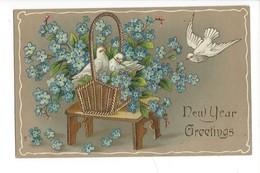 16002 - New Year Greetings  Colombes Et Panier De Myosotis Carte En Relief - Nouvel An
