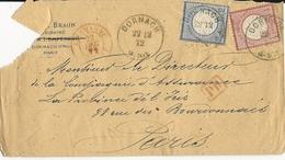 1872 - HAUT-RHIN - ENVELOPPE De DORNACH Pour PARIS Avec ENTREE Par BELFORT - Marcophilie (Lettres)