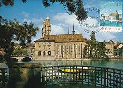 D27901 CARTE MAXIMUM CARD 1984 SWITZERLAND - ZÜRICH WASSERKIRCHE GROSSMÜNSTER CP ORIGINAL - Maximumkarten (MC)