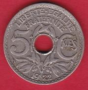 France 5 Centimes IIIe République Lindauer Petit Module - 1922 Poissy - France
