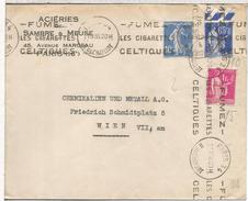 FRANCIA PARIS 1938 CC A WIEN CON MAT PUBLICIDAD TABACO CELTIQUES CIGARRILLOS - Tabaco