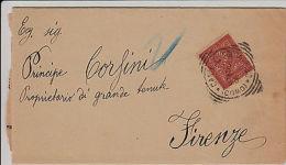 CASTELLO SOPRA LECCO- 2 C Su Piego Per Firenze 13.2.1895 - Principe Corsini - Italia