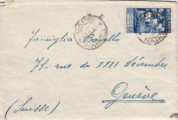 REGNO-1,25L AUGUSTO(423)-Busta Con Testo All'interno Capri->Ginevra 12.8.1938 - Italia