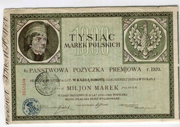 Pologne: Obligation De 1920 - Bank & Insurance