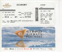 Alt950 Etihad Alitalia Airways Billets Avion Ticket Biglietto Aereo Passenger Abu Dhabi Airport Milano Malpensa Flight - Europe