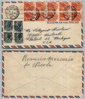 REPUBBLICA-5 L+10 L Turrita(710+711)-Busta SAN  GIORGIO LA MOLARA 23.6.1956 - 6. 1946-.. Repubblica