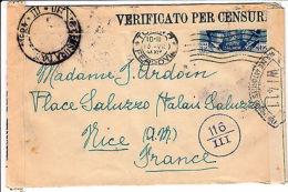 1,25 Lire Fratellanza D'armi-Raccomandata Torino->Nizza 15.7.1941-Censura - Italia