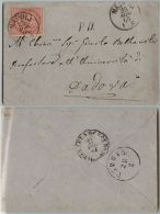 REGNO-De La Rue-40c(L20) Bustina Napoli->Padova 25.8.1865-DISINFEZIONE - Italia