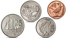 CAYMAN ISLANDS 1, 5, 10, 25 CENTS CURRENCY 4 COINS SET 2008 UNC - Cayman Islands