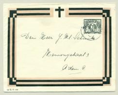 Nederland - 1942 - 1,5 Cent Vliegende Duif Op Strak Geïllustreerde Rouwomslag + Kaart, Lokaal Amsterdam - Brieven En Documenten