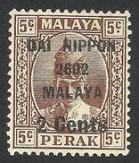 Japanese Occupation, Malaya, Perak 2 C. On 5 C. 1942, Sc # N25, MH - Ocupacion Japonesa