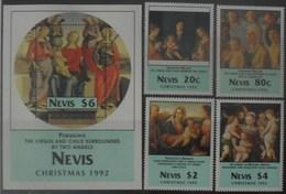Nevis 1992 Christmas ** MNH Yvert 671/74 + Blok 54