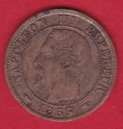 France 1 Centime Napoléon III Tête Nue - 1853 A - A. 1 Centime