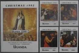 Uganda 1992 Christmas ** MNH Yvert 941/44 + Blok 164 Zurbaran
