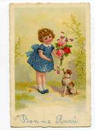 A 18839   -   Bonne Année  -  Petite Fille Avec Bouquet De Roses Et Clochettes Et Avec Son Chien - Nieuwjaar